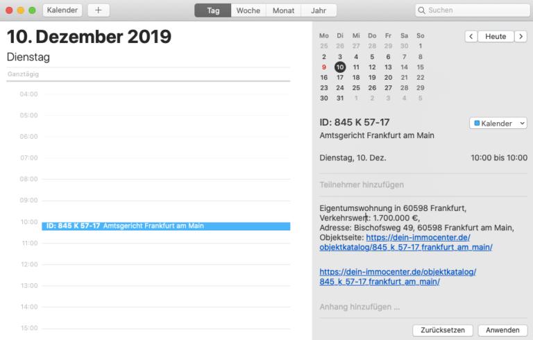 Kalendar Eintrangen